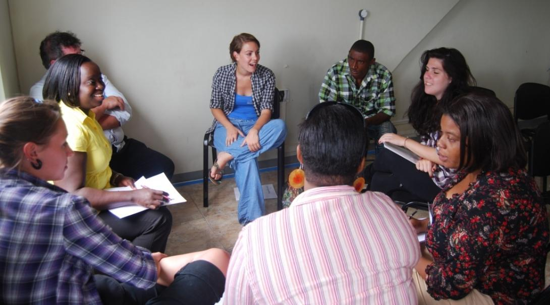 As part of the Human Rights placement in Jamaica, interns lead a discussion on the rights of each individual.